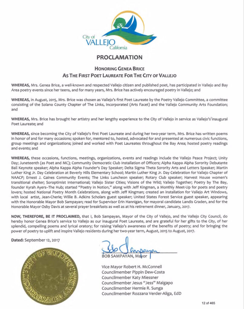 Proclamation honoring Genea Brice for her service as the first Poet Laureate for the City of Vallejo
