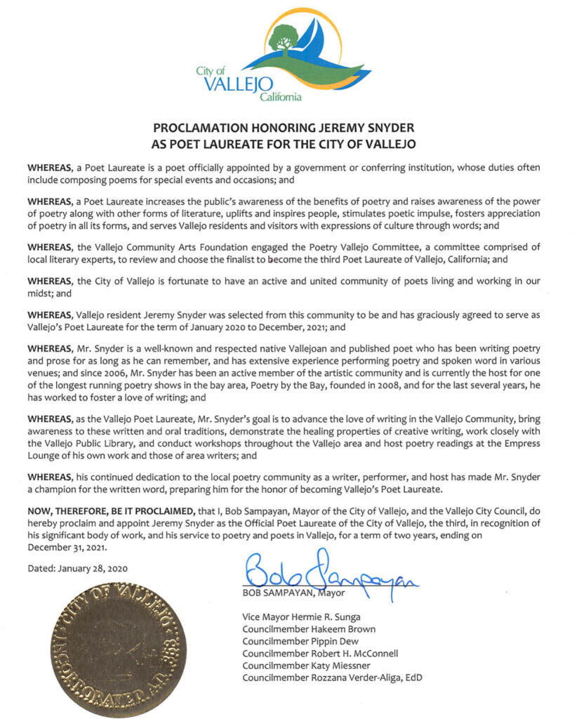 Proclamation honoring Jeremy Snyder as Poet Laureate for the City of Vallejo